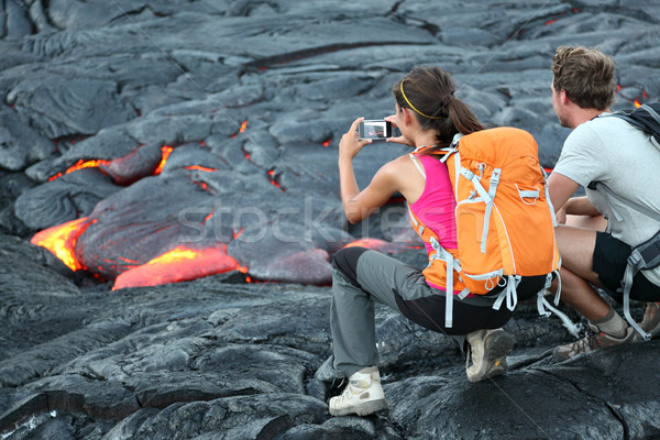 Hawaii lava tourists Stock photo © Maridav