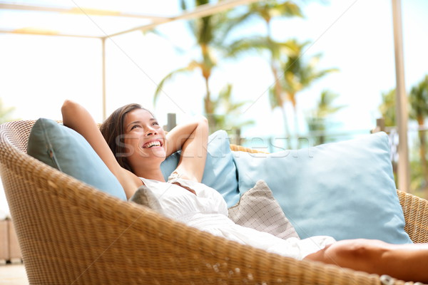 Sofa Woman relaxing enjoying luxury lifestyle Stock photo © Maridav