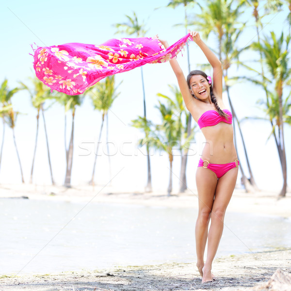 Stock photo: Beach woman waving scarf on happy free vacation