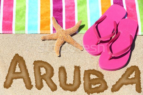 Playa viaje escrito arena agua toalla de playa Foto stock © Maridav