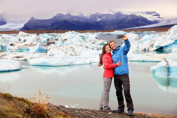 Iceland - couple taking selfie by Jokulsarlon Stock photo © Maridav