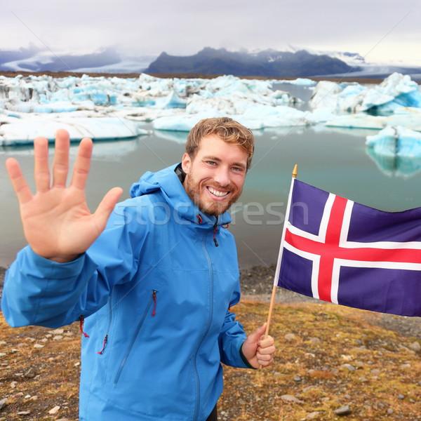 IJsland reizen toeristische tonen vlag man Stockfoto © Maridav