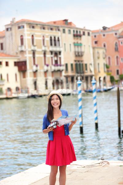 Foto stock: Mujer · viaje · turísticos · cámara · mapa · Venecia