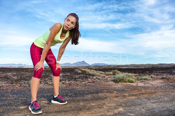 Trail runner resting running break breathing tired Stock photo © Maridav