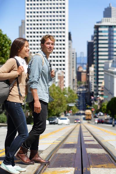 ストックフォト: サンフランシスコ · 街 · 人 · 学生 · 徒歩 · 市