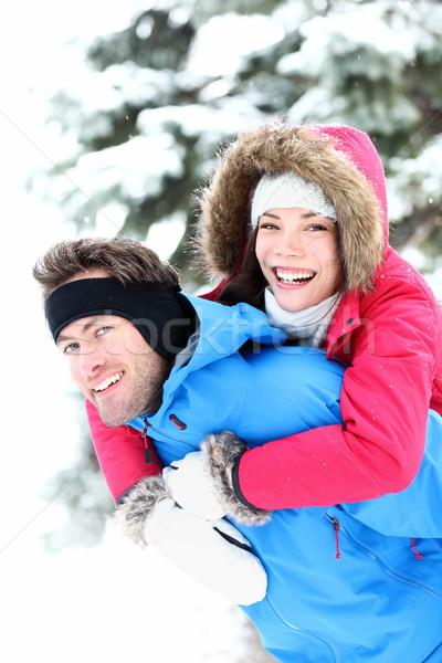 Feliz inverno casal neve sorridente alegre Foto stock © Maridav