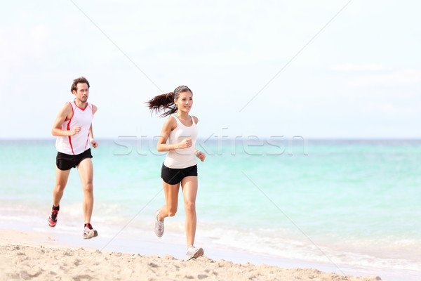 Stockfoto: Paar · lopen · strand · lopers · jogging · buiten