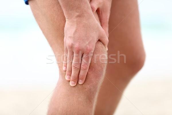 Joelho dor esportes corrida ferimento masculino Foto stock © Maridav
