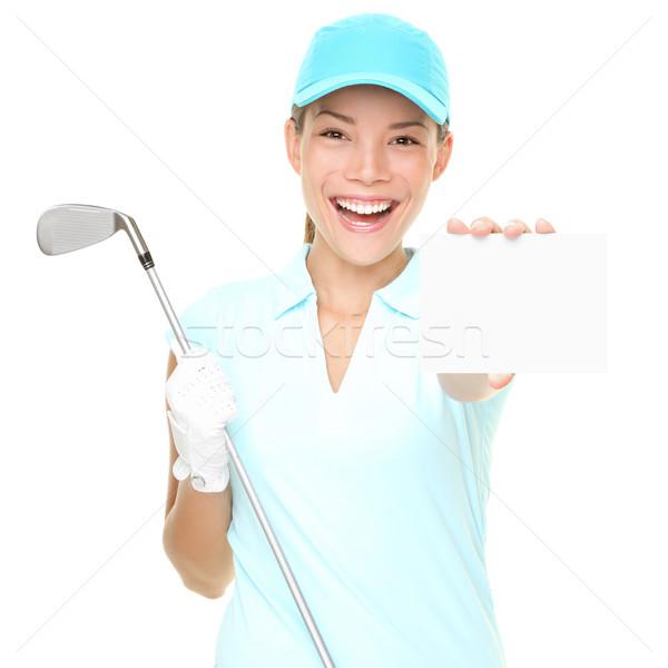 Jogador de golfe mulher jogador de golfe assinar feminino Foto stock © Maridav