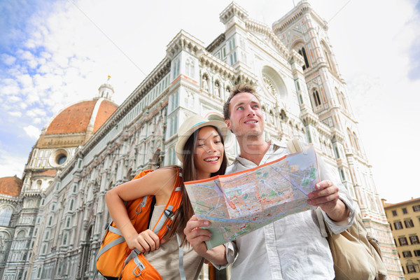 Tourist travel couple by Florence cathedral, Italy Stock photo © Maridav