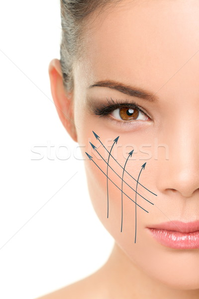 Facelift anti-aging treatment on woman face skin Stock photo © Maridav