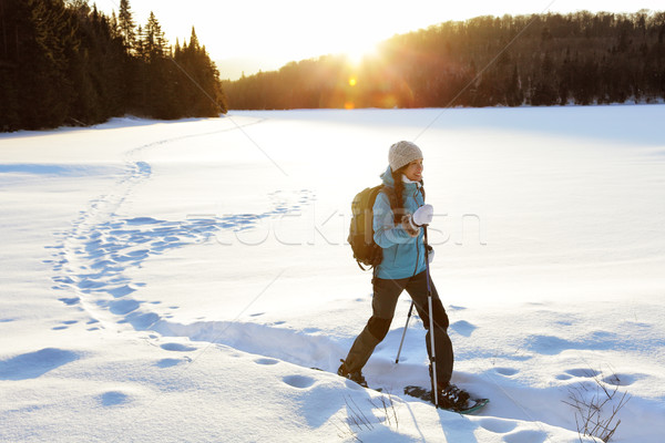 Winter hiking sport activity woman snowshoeing Stock photo © Maridav