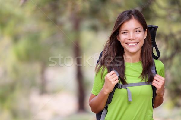 Természetjáró nő kirándulás portré copy space friss Stock fotó © Maridav