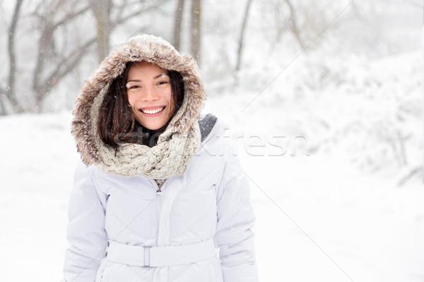снега зима женщину улице белый Сток-фото © Maridav
