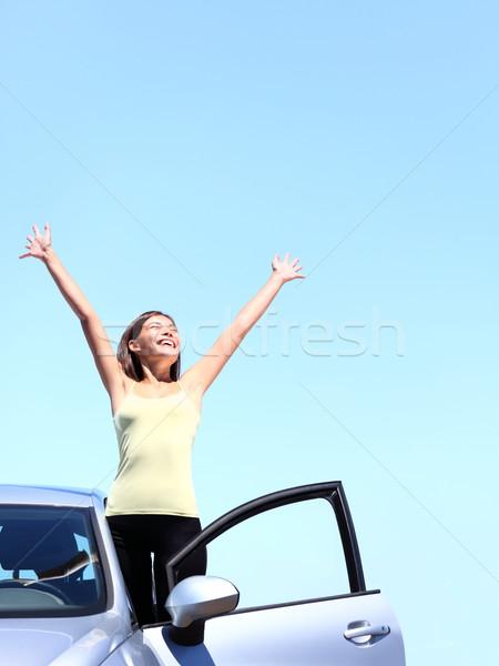 Voiture femme heureux liberté jeune femme Photo stock © Maridav