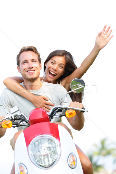 Couple on scooter in love happy together Stock photo © Maridav