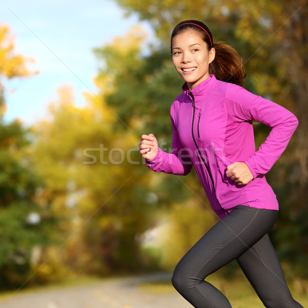 Jeunes asian femme courir Homme jogger Photo stock © Maridav