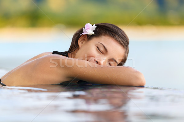 Relaxing pool woman on holidays - vacation travel Stock photo © Maridav