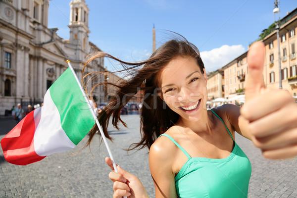Italian flag happy tourist woman in Rome, Italy Stock photo © Maridav