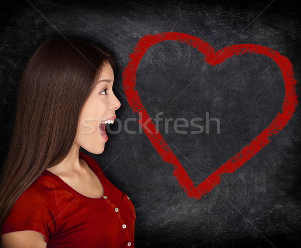 Heart love woman portrait on blackboard chalkboard Stock photo © Maridav