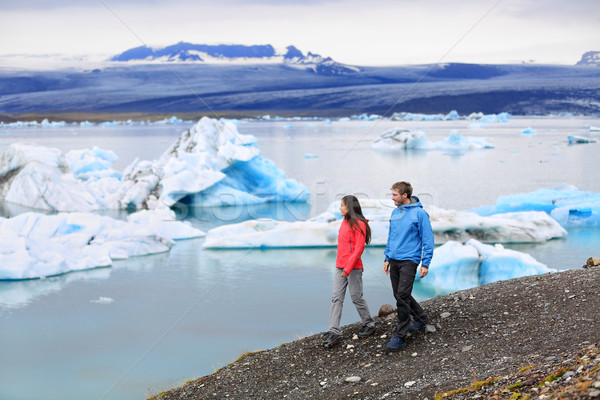 People hiking Iceland Jokulsarlon glacial lagoon Stock photo © Maridav