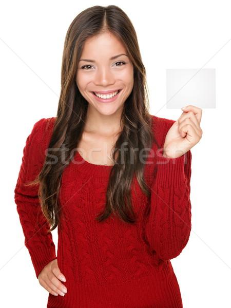 Stockfoto: Tonen · vrouw · presenteren · gift · card · teken · gelukkig