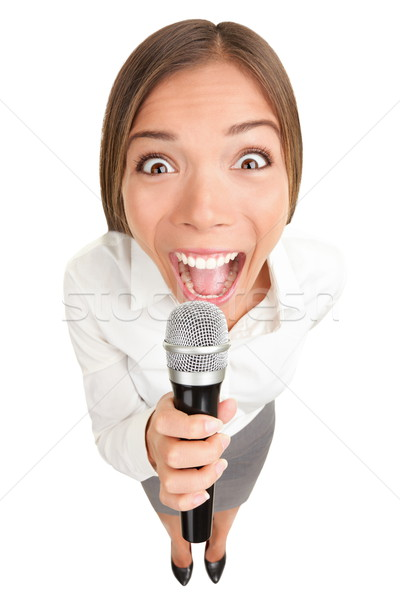 Stock photo: Microphone Business woman screaming / singing
