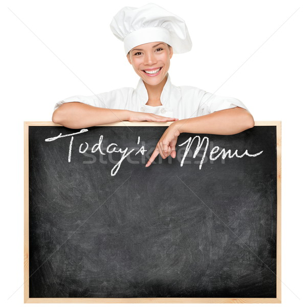 Foto stock: Menu · assinar · chef · restaurante · lousa