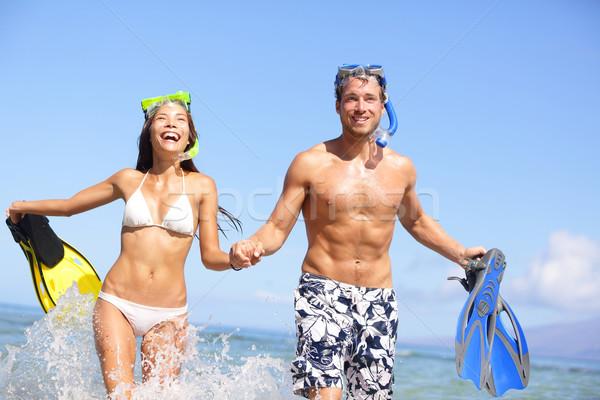 Playa Pareja diversión agua riendo Foto stock © Maridav