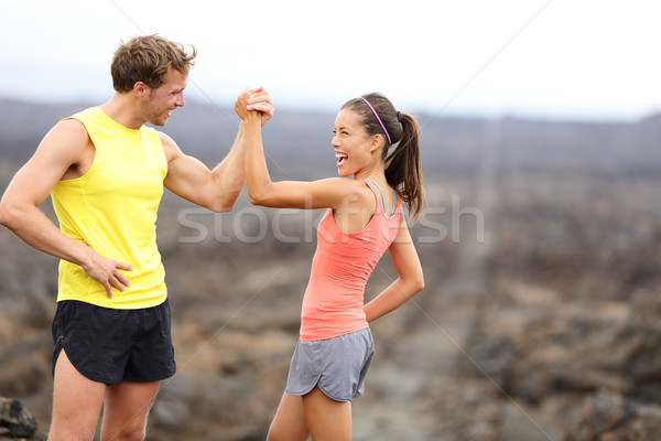Fitness couple celebrating cheerful and happy Stock photo © Maridav