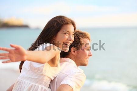 Stok fotoğraf: Romantik · çift · plaj · balayı · seyahat