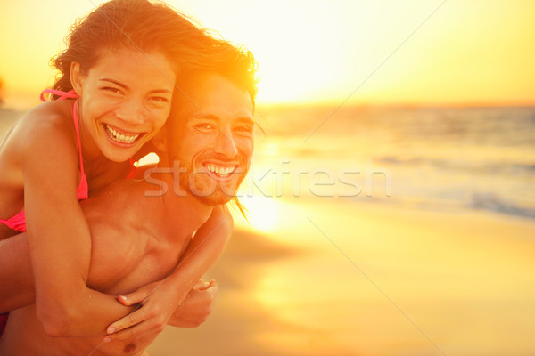 Lovers couple in love having fun on beach portrait Stock photo © Maridav
