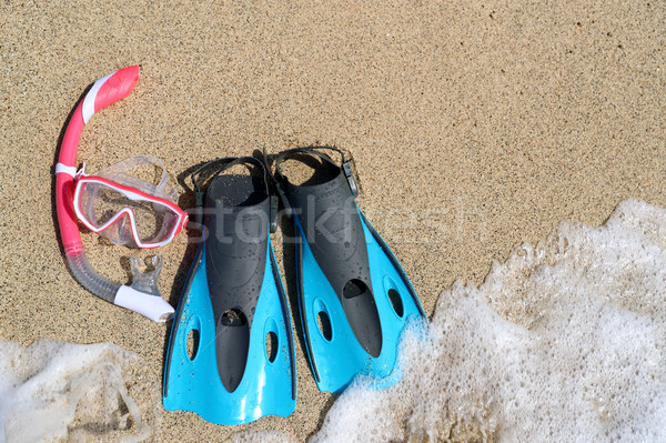 Beach vacation snorkel equipment flippers and mask Stock photo © Maridav