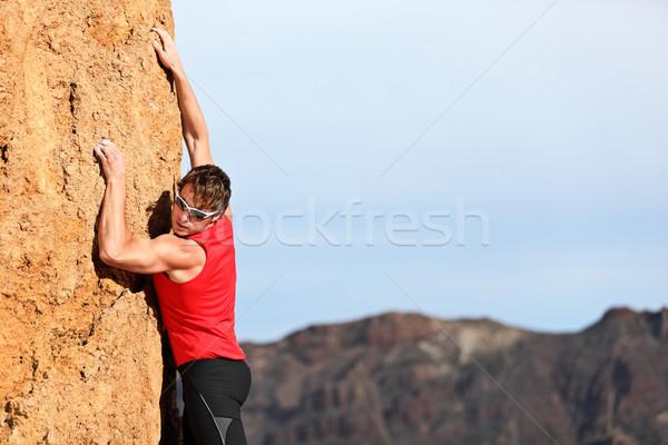 Climbing guardando verso il basso libero sfidare verticale rock Foto d'archivio © Maridav