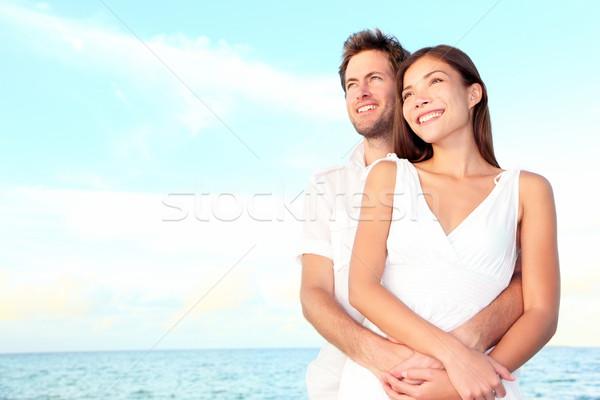 Happy beach couple portrait Stock photo © Maridav
