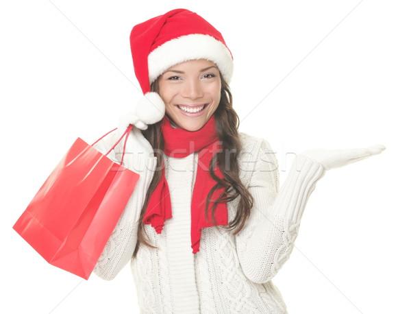 Stockfoto: Christmas · winkelen · vrouw · tonen · exemplaar · ruimte · opgewonden
