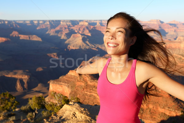 Happy freedom woman in Grand Canyon Stock photo © Maridav