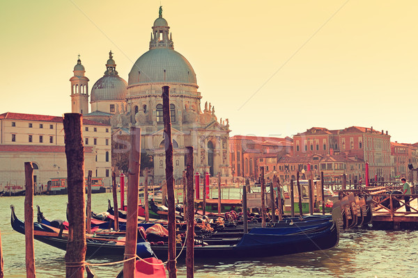 Venice Italy Canal Grande Gondola and Salute Stock photo © Maridav