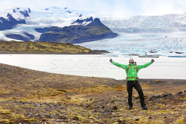 Hiking adventure travel man cheering happy Iceland Stock photo © Maridav