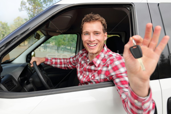 Happy driving man showing new car keys or rental Stock photo © Maridav