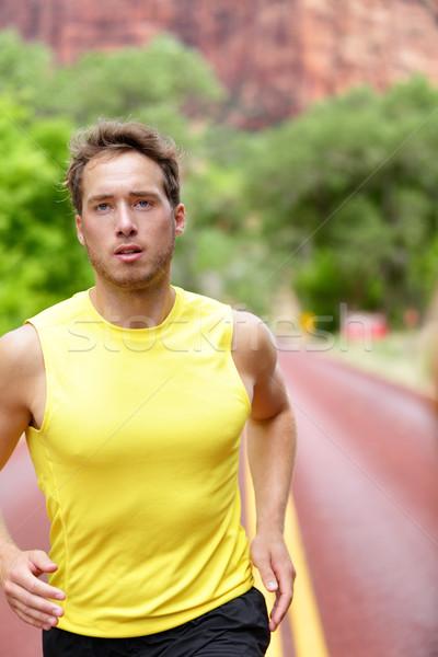 Fitness esportes corredor homem corrida determinado Foto stock © Maridav