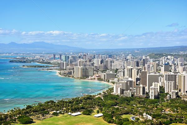 Honolulu waikiki plaży Hawaii widoku słynny Zdjęcia stock © Maridav