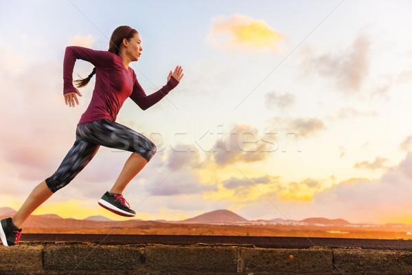 Athlete trail running woman runner training cardio Stock photo © Maridav