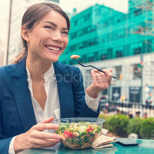 アジア ビジネス女性 健康的な食事 作業 サラダ ベジタリアン ストックフォト © Maridav