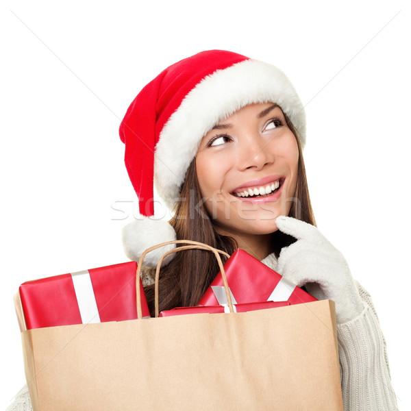 Foto stock: Natal · compras · mulher · pensando