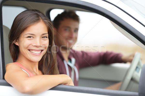 Stok fotoğraf: Araba · çift · sürücü · yeni · araç · gülen · mutlu