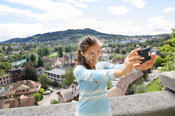Selfie girl - Asian woman taking picture in Bern Stock photo © Maridav