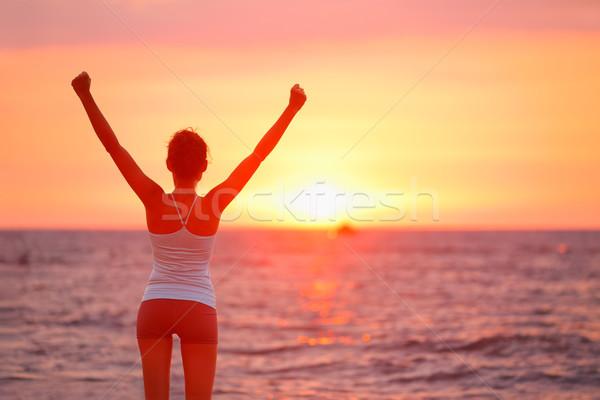 Stock fotó: Boldog · éljenez · ünnepel · siker · nő · naplemente