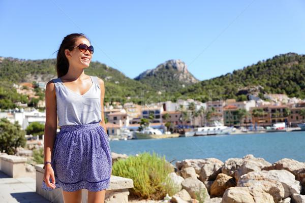 Puerto mallorca turísticos caminando mujer ciudad Foto stock © Maridav