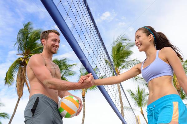 Kézfogás emberek tengerpart röplabda kézfogás röpte Stock fotó © Maridav